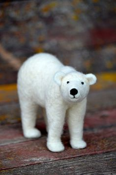 Polar Bear - Needle Felted Animal - Sculpture by Teresa Perleberg