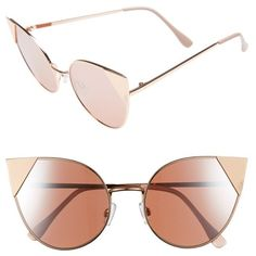 Women's Bp. Super Metal Tip 60Mm Cat Eye Sunglasses ($14) ❤ liked on Polyvore featuring accessories, eyewear, sunglasses, rose gold, metal cat eye glasses, metal glasses, cat-eye glasses, metal sunglasses and cateye sunglasses
