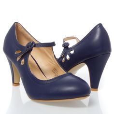 Navy Blue Round Toe Cut Out Ankle Strap Mary Jane Med Low Chunky High Heel Pump #ChaseChloe #MaryJanes