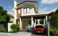 Andres, Two Storey House with Firewall - Pinoy House Designs Small Cottage Designs, Narrow House Designs, Modern Small House Design, 4 Bedroom House Plans, Bungalow House Plans, Two Story House Design, Two Storey House Plans, Philippine Houses, Beautiful Small Homes