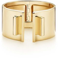 Tiffany T Bar Hinged Cuff ($15,000) ❤ liked on Polyvore featuring jewelry, bracelets, tiffany & co bracelet, gold cuff bracelet, 18 karat gold bracelet, bracelet bangle and gold bangles