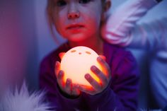 The cute ghostly SPÖKA night lights have color-changing LED lights inside and provide 4–5 hours of light when charged. Rubber on the outside, they're squishy enough to bring into bed!