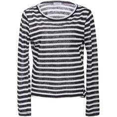 Frame Denim     Long Sleeve Striped Tee ($125) ❤ liked on Polyvore featuring tops, t-shirts, stripe, layered t shirt, layering tees, long sleeve tops, long sleeve t shirts and stripe tee