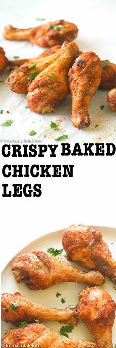 Crispy Chicken Legs Baked Crispy Chicken Legs - Super tasty chicken with only 10 mins prep.Baked Crispy Chicken Legs - Super tasty chicken with only 10 mins prep. Chicken Leg Recipes, Turkey Recipes, Meat Recipes, Dinner Recipes, Cooking Recipes, Healthy Recipes, Chicken Drumstick Recipes, Cooking Videos, Vegetable Recipes