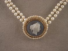 Blue Agate Cameo & Pearls. My favorite combination!