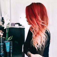 awesome Red to strawberry blonde ombré... I wish I had the balls to do this I just can&...