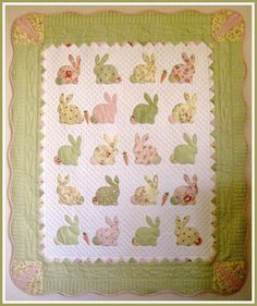 Bunny Quilt ~ hand appliqué rabbits & carrots, hand quilted w/carrot border | from T in the Burg