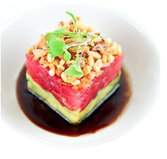 BLACKFIN TUNA TARTARE WITH AVOCADO AND SOY SAUCE DRESSING INGREDIENTS:  Crispy Shallots:  Peanut oil for frying  3 tablespoons finely choppe...