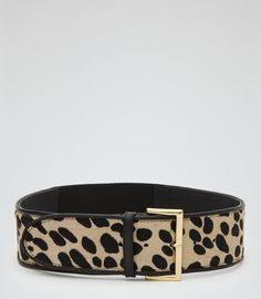 Womens Animal Print Calf Hair Belt - Reiss Lilah Print