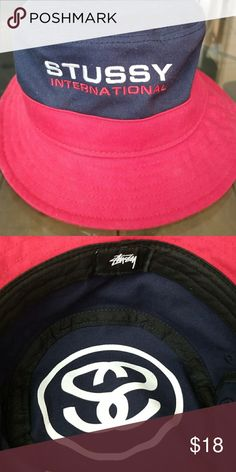 Shop Men s Stussy Blue Red size OS Hats at a discounted price at Poshmark.  Description  Navy Red Stussy bucket hat from Urban Outfitters. c1ae967d37