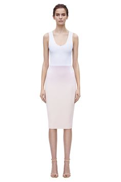 tank fitted   A fitted, racer back dress in white and blonde dense-rib jersey, from the from the Spring Summer 15 Ready-to-Wear collection