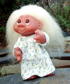 """Another Iconic Dam troll girl in her nightgown. I think she was also a Norfin, 10"""" tall and fully articulated. With her white genuine mohair trailing down her back, she's ready for a story and bed."""