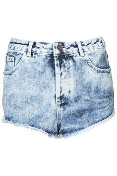 light blue acid wash denim hotpants short TOPSHOP MOTO