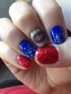 my montreal canadiens nails for the 2014 stanley cup playoffs! gotta have hockey nails in the playoffs! Montreal Canadiens, Hockey Nails, The Art Of Nails, Hockey Mom, Ice Hockey, Tough As Nails, Gel Nail Polish, Fun Nails, Hair And Nails