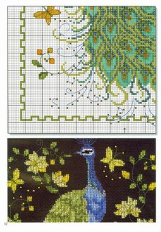 Peacock with flowers and butterfly Cross Stitch Bird, Cross Stitch Designs, Cross Stitching, Cross Stitch Patterns, Peacock Pattern, Swedish Weaving, Cross Stitch Pictures, Chart Design, 5d Diamond Painting