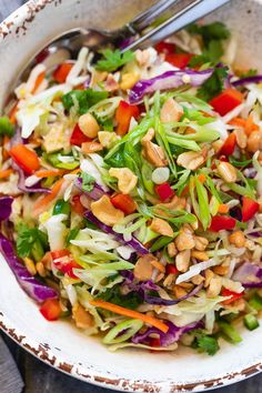Healthy Cabbage Salad with Orange-Lime Dressing - - Crunchy and healthy, this cabbage salad recipe is perfect for your midweek lunches or larger gatherings. - by salad recipe Healthy Cabbage Salad with Orange-Lime Dressing Cabbage Salad Recipes, Chicken Salad Recipes, Easy Salads, Healthy Salad Recipes, Salad With Cabbage, Recipes With Red Cabbage, Healthy Coleslaw, Winter Salad Recipes, Side Salad Recipes