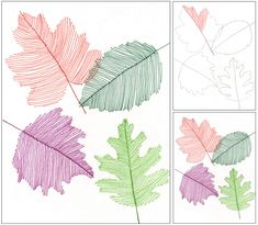 Trace a stencil leaf in pencil, add a spine in marker and then fill with parallel lines. Erase pencil edge when done. Transparency with lines! Very cool!