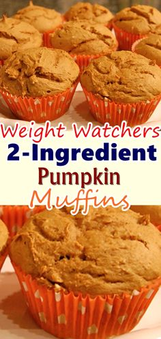 Muffins – Two Ingredients. All you need is a box of Spice cake mix and a can of pumpkin puree. Quick, easy, and tasty. Fall is quickly approaching and pumpkin recipes are beginning to pop up all over the place! Pumpkin Muffins – Two Ingredie. Weight Watcher Desserts, Weight Watcher Muffins, 2 Ingredient Pumpkin Muffins, 2 Ingredient Cakes, Easy Pumpkin Muffins, Ww Pumpkin Muffin Recipe, Weight Watchers Pumpkin Spice Cake Recipe, Pumpkin Muffins Cake Mix Recipe, Spice Cake Mix And Pumpkin