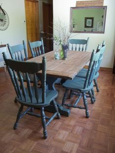 vtg trestle table u0026 6 chairs refinished solid wood top green accents pretty dinning tabletable and dining