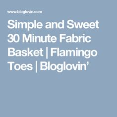 Simple and Sweet 30 Minute Fabric Basket   Flamingo Toes   Bloglovin'