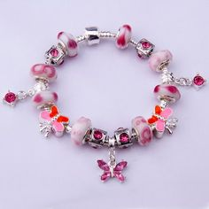 """Bamoer """"The World of Garden"""" Pink Murano Glass Beads Butterfly Dangle Charm Beaded Silver Plated Bracelet Valentine's Day Gifts for Ladies Girls Women 20cm"""