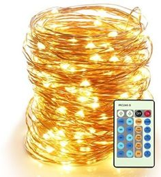 Outdoor String Lights,Dimmable LED Starry String lights Perfect for Bedroom,Garden,Party,Indoor and Outdoor Decorations ( 200 LEDS 66FT , Cooper Wire,WarmWhite ,Remote Control)