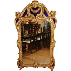Period 18th Century Baroque Giltwood Mirror with Cobalt Glass at 1stdibs
