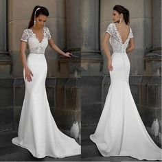 Popular Mermaid V-Neck Simple Short Sleeves Lace top Sweep Train Wedding Dresses, WD0341