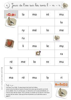 Jeux de l'oie de syllabes et de mots sur les sons l, m et r