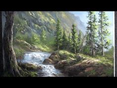 Oil Painting Waterfall Landscape - Paint with Kevin Hill Oil Painting Tips, Painting Videos, Painting Techniques, Oil Painting On Canvas, Kevin Hill Paintings, Bob Ross Paintings, Landscape Drawings, Landscape Art, Landscape Paintings