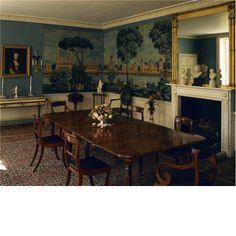 The dining room at Stonor Park, mounted with panoramic paintings by Dufours of 1815. Love the panorama with the creamy white woodwork and dark furniture. 5.12.2014