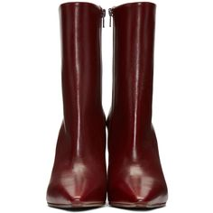 Vetements Burgundy Reflector-Heel Boots ($385) ❤ liked on Polyvore featuring shoes, boots, ankle booties, pointy toe booties, pointy toe bootie, mid calf booties, burgundy boots and ankle boots