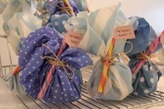 Tea bundled in fun fabrics favor
