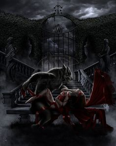 Whoever made this had to be basing it on the wolf scene from Bram Stoker's Dracula-the movie. I wish the watermark wasn't there because it's such a cool piece.