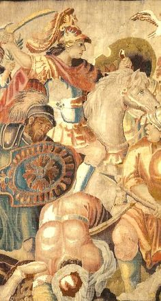 """""""Alexander the Great to the Granico passage"""", Aubusson, 17th century, Wool and silk tapestry"""
