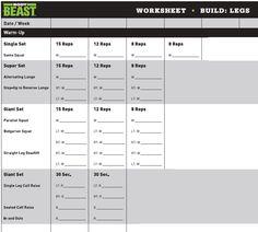 Body Beast Worksheets (Dedicated Republic)   BodyBeast   Pinterest ...