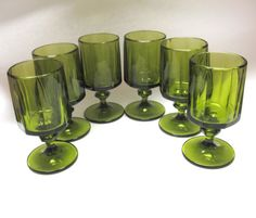 Green Glasses 70s Modern Set Of Six Footed by sweetie2sweetie