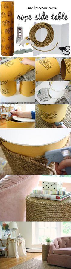 Mesita DIY con cuerda - meetmeinphiladelphia.blogspot.com - DIY Rope Table