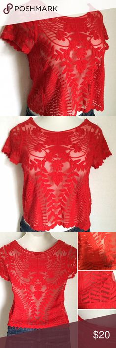 "Express red lace top ✨Host Pick✨ Beautiful red Express floral lace top with short sleeves and a cropped length. There are a few places on the back that have some embroidery unraveled, see third photo. Size XS, but fits my 4/6 mannequin with 35.5"" bust well. 100% nylon. Decoration: 100% cotton. Not interested in trades. Express Tops"