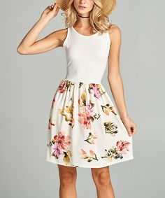 Take a look at this Paolino Ivory & Red Floral-Contrast Sleeveless Dress today!