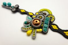 Handmade soutache bracelet, light and comfortable to wear. Just the perfect size and design to make it a fabulous statement piece.  Colors: gray, bright yellow, lime, turquoise