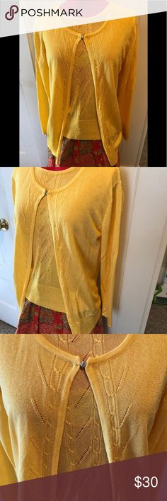 """Lovely Giorgia Luisa Cardigan Vest Set Sz L This is a beautiful gold cardigan sweater and vest set. 82% Viscose and 18% Elastane size Large. It doesn't show any wear. It is in excellent condition. The Vest measures 17"""" across, the bust 36"""" and 23.5"""" from shoulder to hem. Sweater/cardigan only hooks at the neck and is bigger. It is thin sweater material and feels very nice. I have pictured it with a Boho style wrap-a-round skirt that I have also listed. They look quite nice together. Giorgia…"""