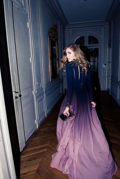 Chiara Ferragni prancing through the hallways of Elie Saab's Parisian home. 'Just another day' as they would say on The Coveteur. Discover more on www.thecoveteur.com/chiara-ferragni-elie-saab