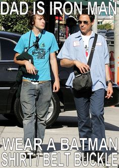 Indio Downey, Dad is Ironman wear a Batman belt instead :') Batman Shirt, I Am Batman, Hulk, Robert Downey Jr., Ironman, Downey Junior, The Villain, Looks Cool, Marvel Dc