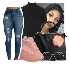 """"""""""" by eazybreezy305 ❤ liked on Polyvore featuring Topshop, Reebok, cute, simpleoutfit, Trendy and 2016"""