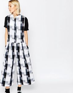 a5f3132e9fea59 ASOS WHITE Oversized Jumpsuit in Gingham at asos.com