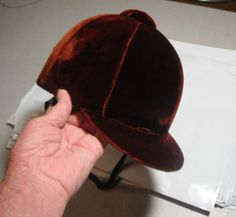 I just purchased off ebay-not to ride in (not certified)--but I always wanted a burgundy hunt cap--Vintage Used Riding Helmet Schneider Saddlery Company Cleveland,Ohio 6 5/8 #SchneiderSaddlery