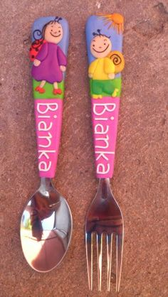 Berry and Dolly - Children's cutlery - polymer clay