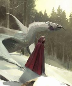 Red cloak swishing behind her, the woman stepped down the mountain, slowly making her way to the bottom. Her silver Dragon followed close behind, posing a threat to anyone who saw her. Dragon's were not creatures to be dealt with.