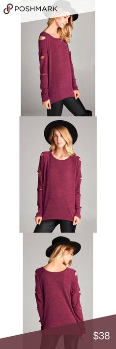 5⭐️ Burgundy Longsleeve Top Laser Cut Sleeves Burgundy Loose fit, long sleeve top with laser   cut openings on both sleeves. This top is made with a two toned sweater knit fabric has good stretch and drapes nicely. Fabric 85% Polyester, 10% Rayon, 5% Spandex Made in USA. No Trades. Price is Firm Unless Bundled. 2 items 10% Off 3 Items 15% Off GlamVault Sweaters
